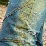 Öko-Designer-Jeans Unikat farbige Verwaschung