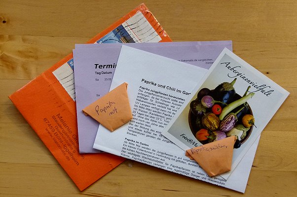 Lila Tomate Brief mit Samen