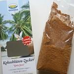 Kokosblütenzucker mit und ohne Verpackung