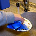 Teller reinigen mit Öko-Tuch und Wasser