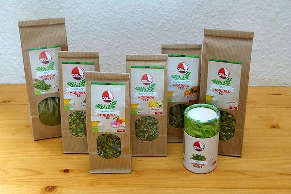 Verschiedene Bio-Moringa Produkte