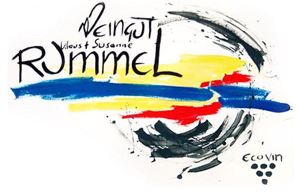 Farbige Zeichnung mit Text Weingut Rummel