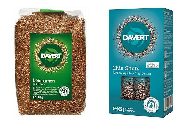 Davert Leinsamen und Chia-Shots