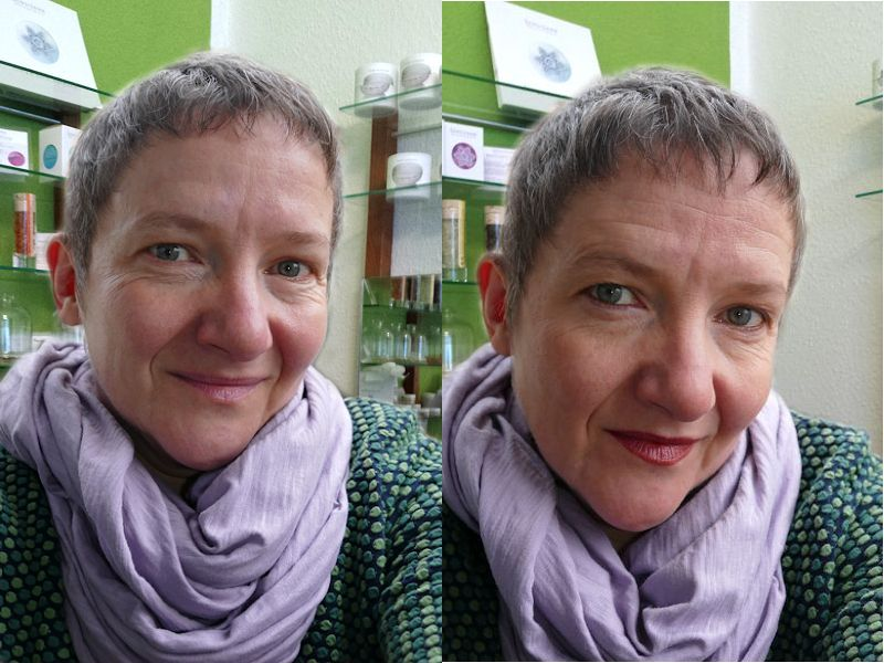 Ungeschminkt und mit marie w. Tages Make up