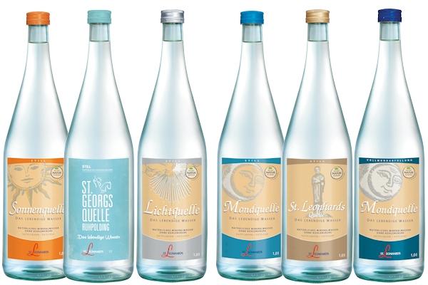 6 Flaschen mit St. Leonhards Mineralwasser