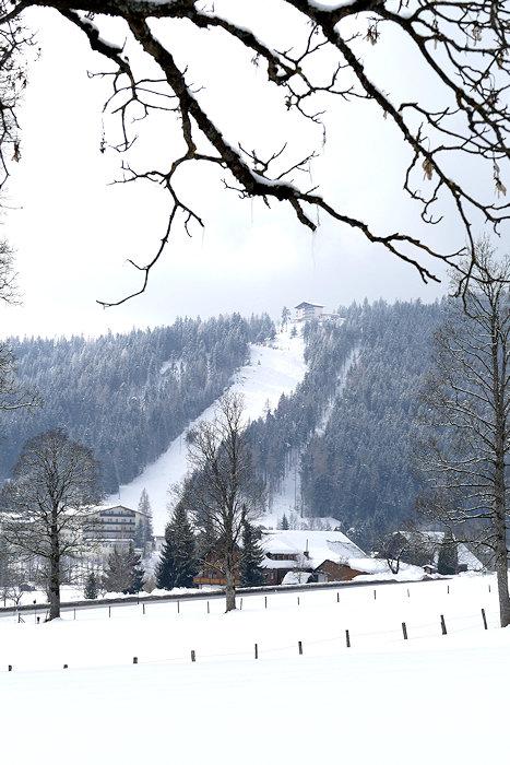 Ramsau im Schnee Blick über das Plateau
