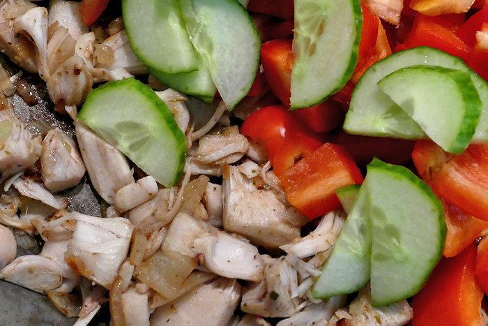 Jacky F. Jackfruchtfleisch angebraten mit Gemüse