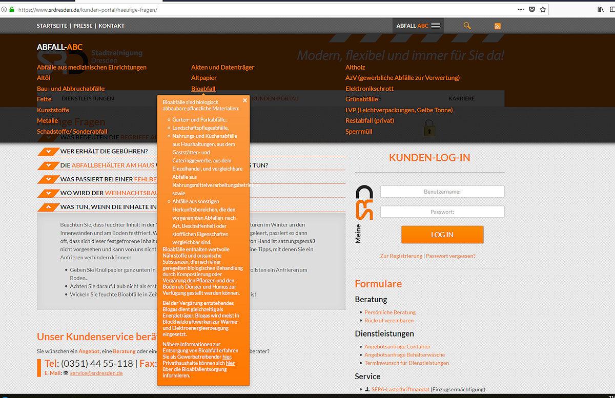 Stadtreinigung Dresden Info Bioabfall allgemein