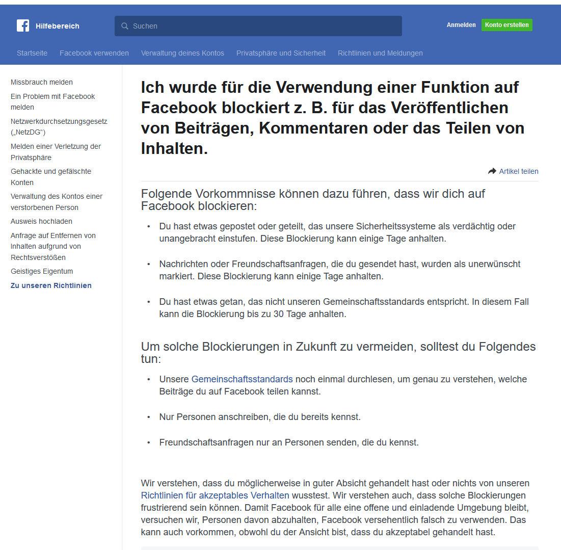 Ich wurde für die Verwendung einer Funktion auf Facebook blockiert