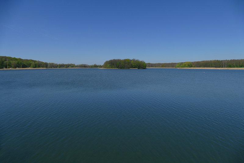 Der Horstsee in Wermsdorf von der Straße aus gesehen bei blauem Himmel mit blauem Wasser.